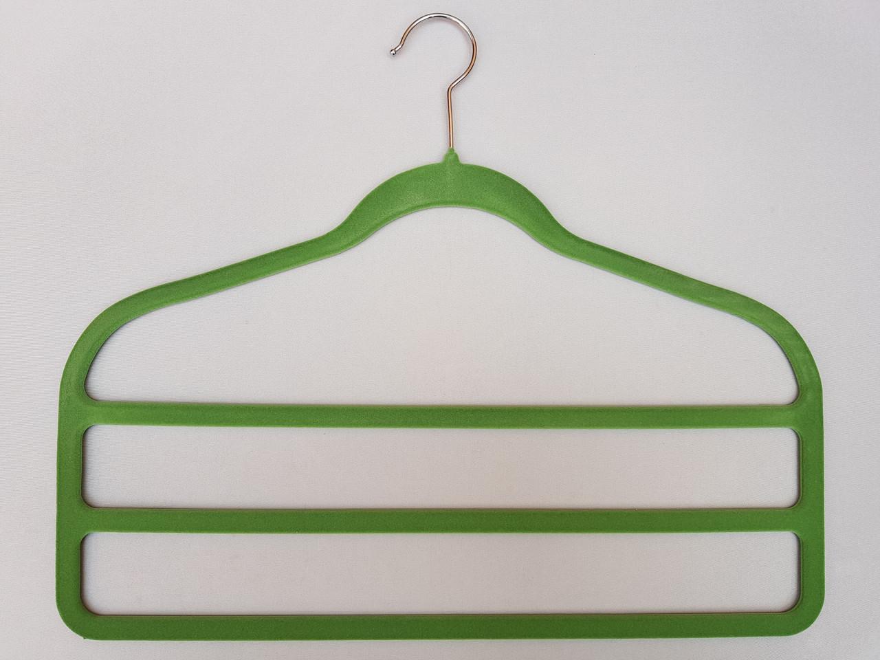 Плечики для брюк флокированныесалатавого цвета лестница 3-ехярусная, длина 45см