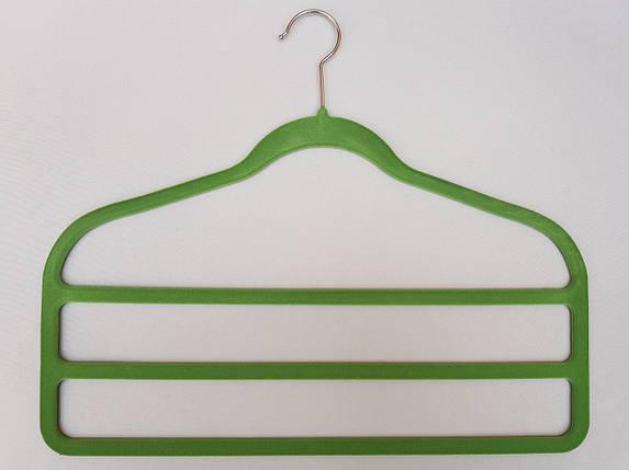 Плечики для брюк флокированныесалатавого цвета лестница 3-ехярусная, длина 45см, фото 2