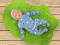 Набор утепленный для новорожденного с начесом Антошка из 3 предметов для мальчика (синий), фото 1