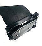 Кожаная мужская сумка VS214 Crazy horse blak 20х23х5.5  см, фото 4