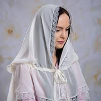 "Палантин ""Діва Марія""для взросых Шифон 80*120 Белый Молочный"