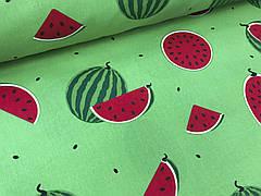 """Польская хлопковая ткань """"арбузы большые на зеленом"""""""
