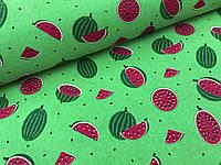 """Польская хлопковая ткань """"арбузы мелкие на зеленом"""""""