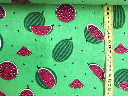 """Польская хлопковая ткань """"арбузы мелкие на зеленом"""", фото 2"""