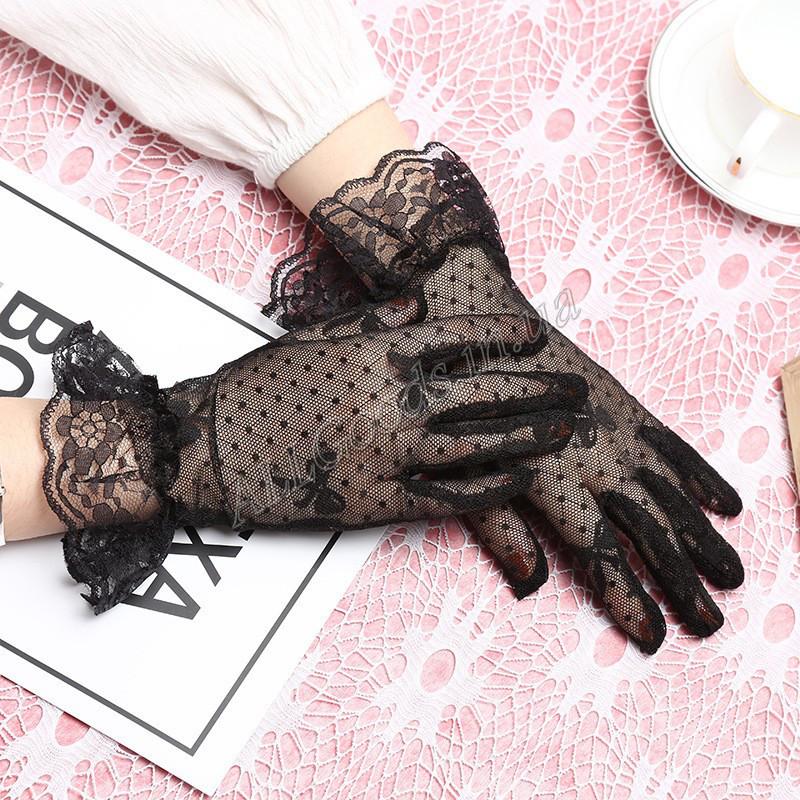 Перчатки закрытые короткие сетка с кружевом на запястье (p428) черные
