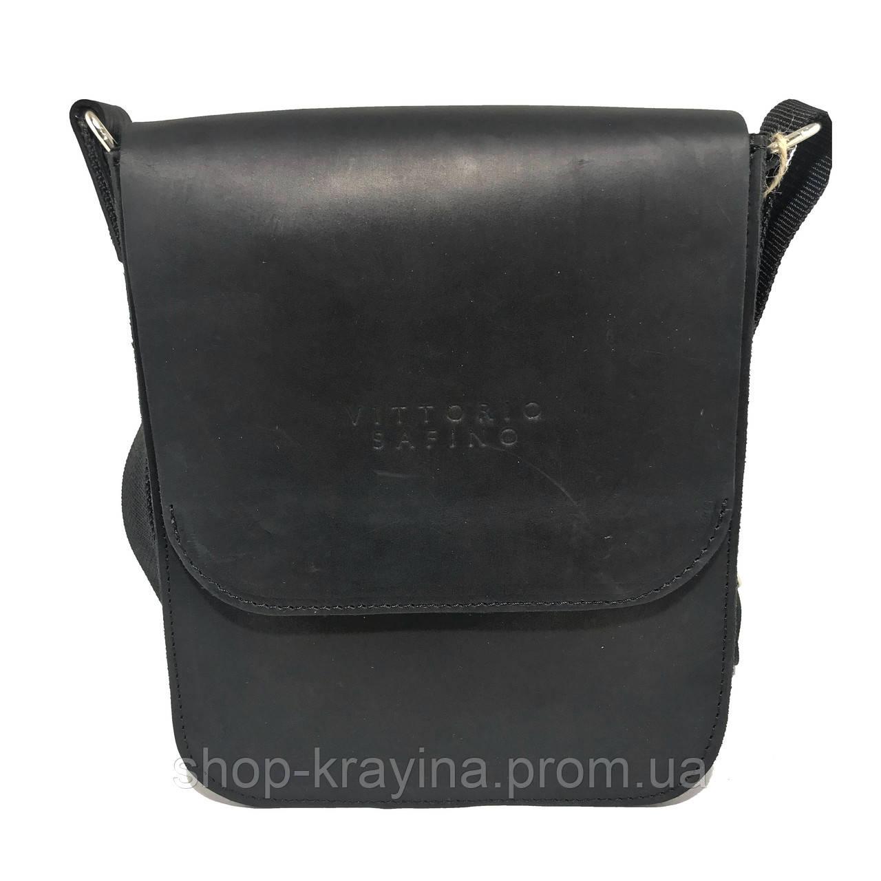 Кожаная мужская сумка VS214 Crazy horse blak 20х23х5.5  см