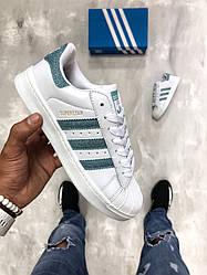 Женские кроссовки Adidas Superstar бело-серебристые топ реплика