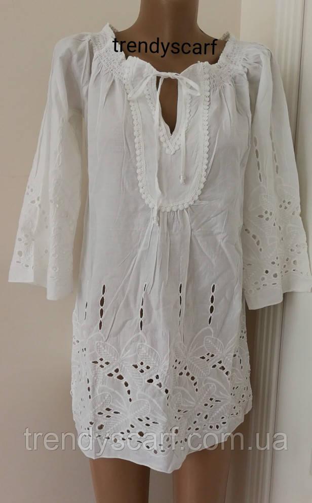 80ba82308e2 Женская летняя Туника Рубашка удлиненная белая кружево.Удленненная рубашка.  Хлопок. Индия