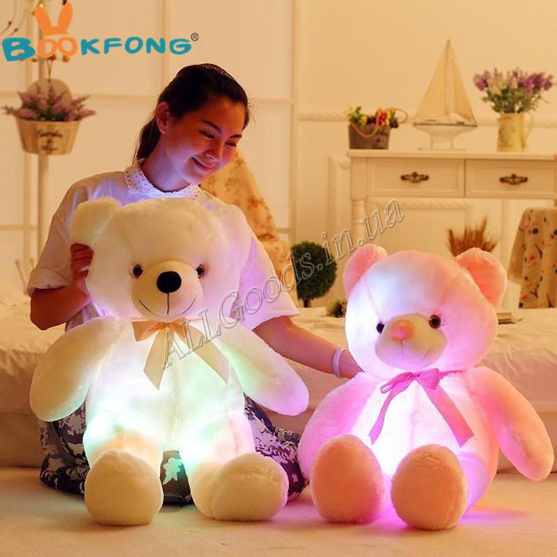 Мишка светящийся. Мягкая игрушка Медведь 45-50см Уценка