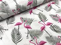 """Польская хлопковая ткань """"фламинго розовые с серыми пальмами на белом"""""""