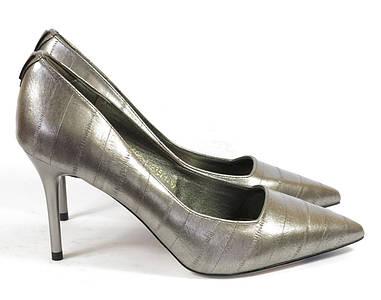 Темно-серые классические женские туфли