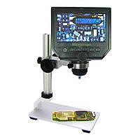 """Цифровой микроскоп с монитором 4.3"""" и штативом  G600+ (запись видео и фото на microSD (16gb class 10), фокус 20-120 мм, кратность увеличения 600X)"""