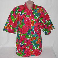 Блуза женская гавайская с ярким цветочным принтом, р. 48