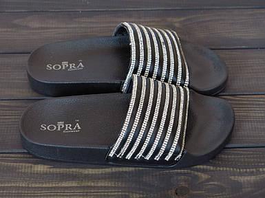 Черные женские шлепанцы в стразах Sopra