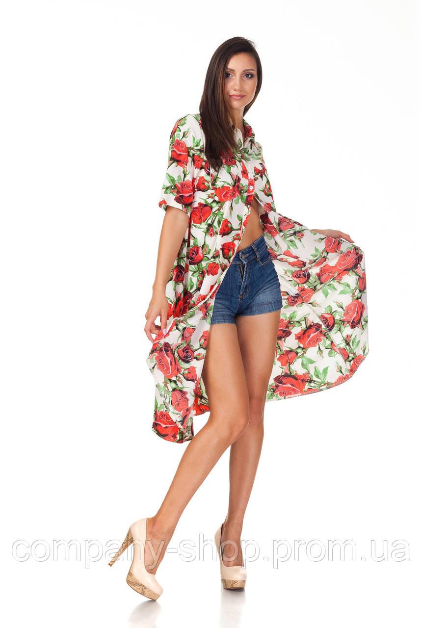 Платье-рубашка ассимитричная. Модель П097_розы