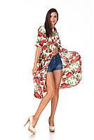 Платье-рубашка ассимитричная. Модель П097_розы, фото 1