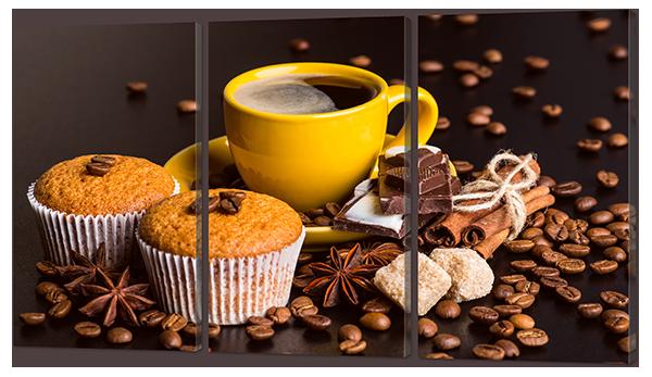 Модульная картина Кофе с кексом