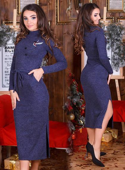 Женское платье длинное с вышивкой синего  цвета  от YuLiYa Chumachenko