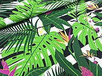 """Польская хлопковая ткань """"попугаи с пальмами на черно-белых полосках"""""""