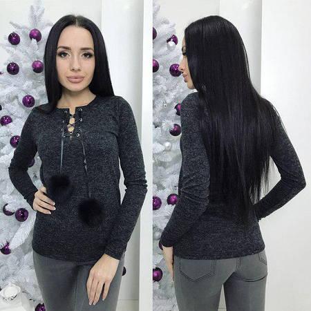 Женский свитер  смеховыми бубонами черного цвета  от YuLiYa Chumachenko