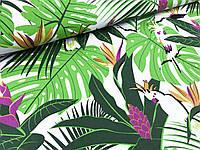 """Польская хлопковая ткань """"попугаи с пальмами на белом"""""""