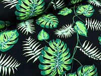 """Польская хлопковая ткань """"листья монстеры и пальмы на черном"""""""
