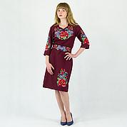 Мальва с васильками платье бордового цвета