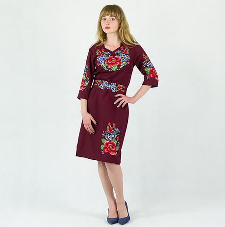Мальва з волошками плаття бордового кольору, фото 2