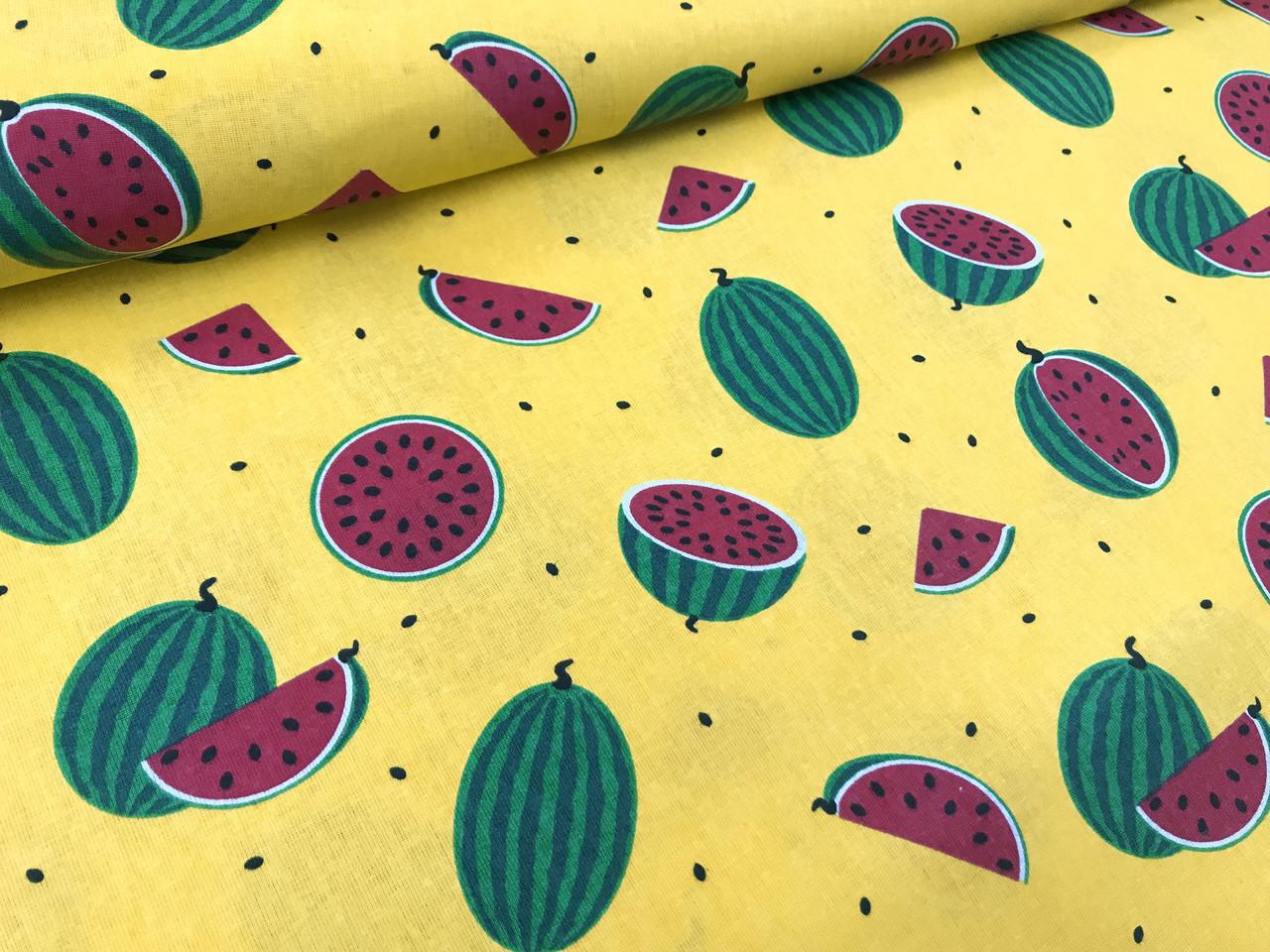 Купить ткань с арбузами в пошив жилетов женских