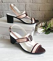 Женские босоножки на широком каблуке, натуральная кожа