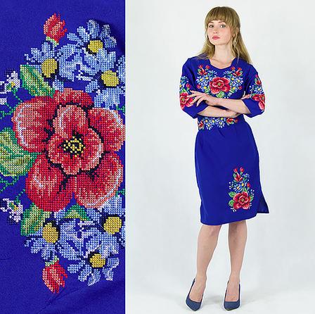 Мальва з волошками плаття синього кольору, фото 2
