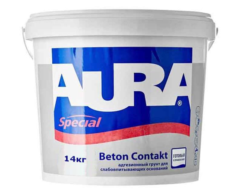 Грунт с кварцевым песком AURA BETON CONTACT адгезионный 14кг