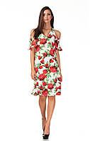 Цветочное летнее платья с вырезами на плечах. П119, фото 1