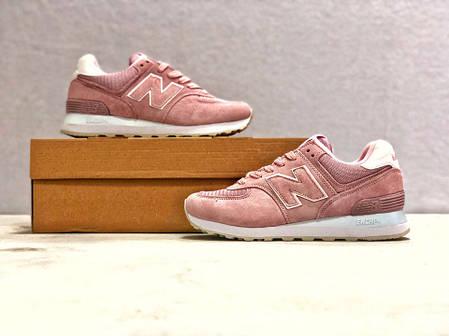 Кроссовки женские New Balance 574 розовые топ реплика, фото 2