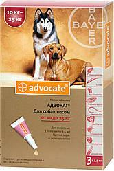 Bayer Advocate (Адвокат) капли от глистов и клещей для собак крупных пород весом 10-25 кг. 1 шт.