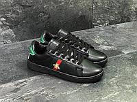 Кроссовки в стиле GUCCI (черные) кожанные кроссовки гуччи 5544