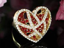 """Кольцо с кристаллами Сваровски """"Объемное сердце"""""""