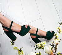 Босоножки женские замшевые темно зеленые, фото 1