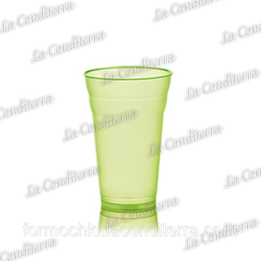 Пластиковый зеленый стакан для напитков Polo Plast 431 (350 мл)
