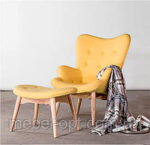 Дизайнерское кресло Флорино с оттоманкой желтое точная копия Featherston R160 Contour Chair, фото 3