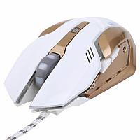 Мышь оптическая игровая WarWolf T1 белая 800-2400dpi для компьютера ноутбука игр макросов gaming mouse