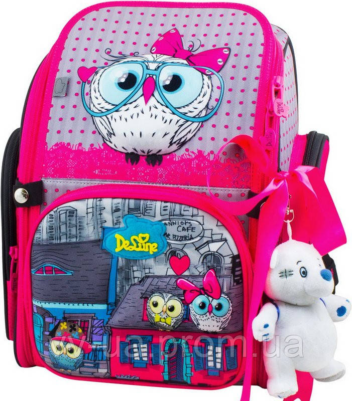 f6c0f85319e3 Школьный рюкзак Delune с наполнением 6-116, серый с розовым -  Интернет-магазин