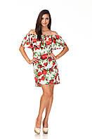 Цветочное летнее платье с воланом. П090, фото 1
