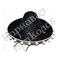 Шляпа Сомбреро солома 30 см с кисточками (черная)