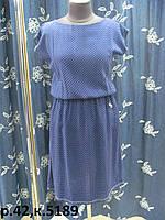 Летнее платье из штапеля на каждый день, на талии резинка, по бокам карманы, р.42 код 5189М