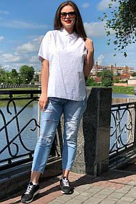 """Белая рубашка женская """"Баззи"""" большого размера"""