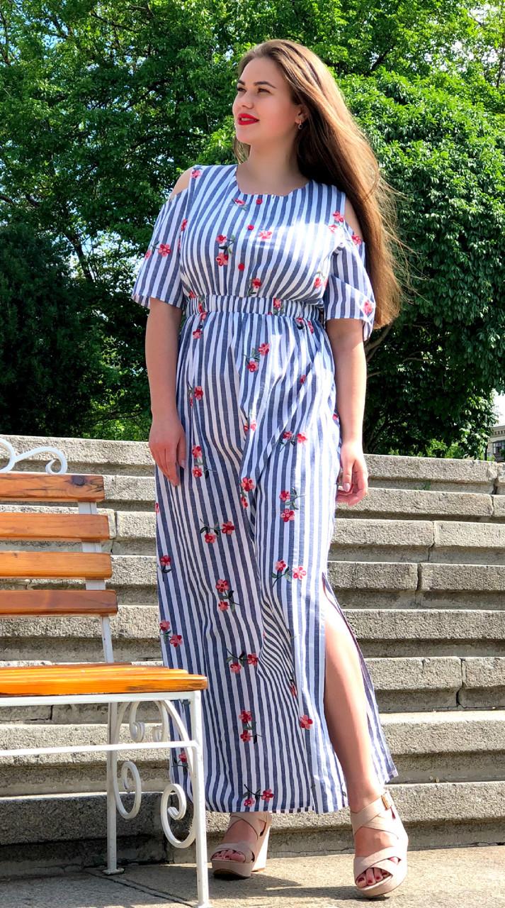 """Красивое льняное платье """"Айрум"""" большого размера"""