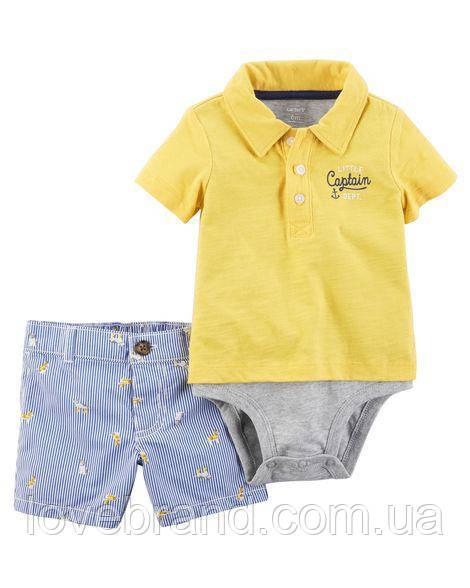 """Стильный набор для мальчика Carter's шортики и маечка-боди """"Captain"""" 24 мес/83-86 см"""