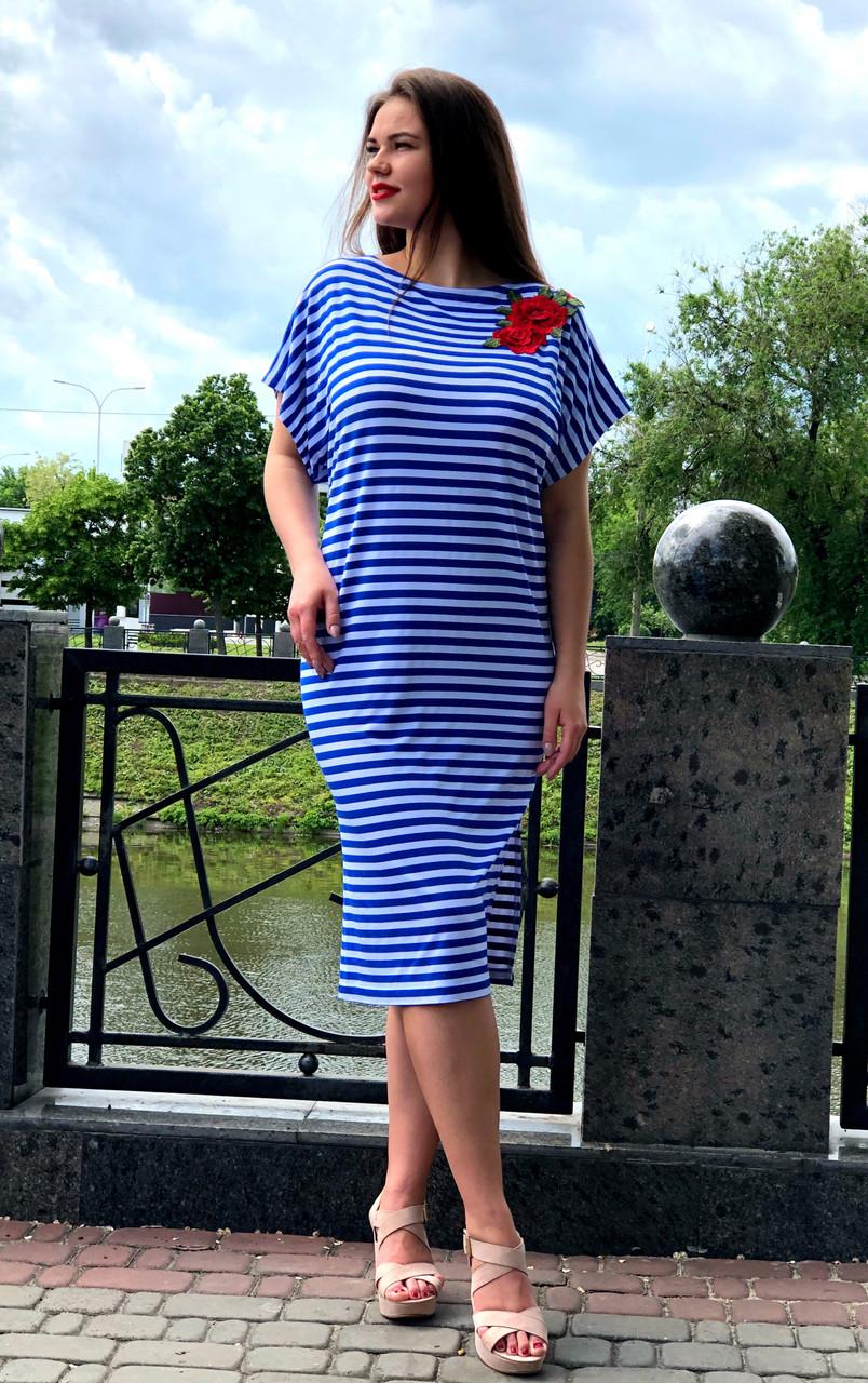 """Летнее платье в полоску """"Ангелита"""" большого размера"""