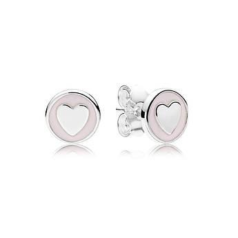 Серебряные серьги сердечки из эмали нежно-розового цвета копия Pandora